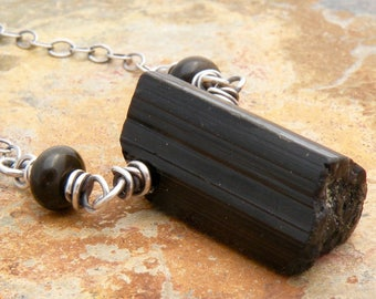 Raw Black Tourmaline Necklace, Sterling Silver, Black Gemstone Necklace, Layering Necklace, Golden Sheen Obsidian, Rustic Tourmaline  #4799