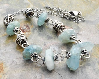 Rustic Aquamarine Gemstone Necklace - March Birthdays - Sterling Silver - Faceted Gemstones - Wire Wrapped - One of A Kind - OOAK   #4614