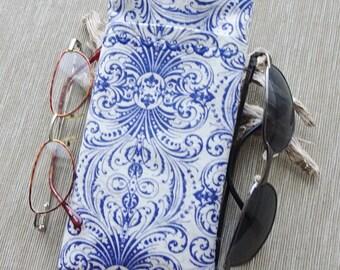 Double Pocket Eyeglass Case, Eyeglass Cell Phone Sleeve, Sunglass & Reader Glass Case, Blue and Ivory Fabric Sleeve, Organizer Case