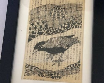 """Bird on calligraphy, black and white, pen and ink, 6"""" x 8"""" frame, mat and glass, zentangle artwork, Japanese background, black frame"""