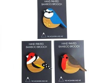 Bird Brooch, Bird Jewellery, Bird Accessories, Robin Brooch, Blue Tit Gifts, British Birds, Gifts for Bird Watchers, Hand Painted Brooch