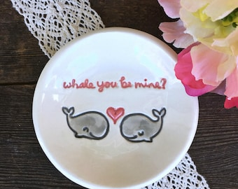 Ring Dish - Whales in Love, Ceramic Ring Bowl, Trinket Dish, Jewelry Dish, Ring Holder Dish, Whale You Be Mine, Gift Dish Ready to Ship