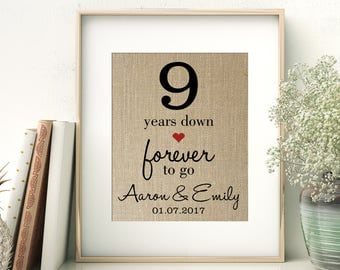 9 Years Down - Forever to Go | 9th Ninth Wedding Anniversary Personalized Burlap Print | Gift for Wife Husband | Personalize for ANY Year