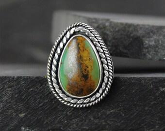 Turquoise Ring, Royston Turquoise Silver Statement Ring, Boho Ring, Southwestern Ring, Size 7