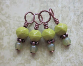 Petit Fours - Pistachio Gelato - One-Piece Stitch Markers - set of four