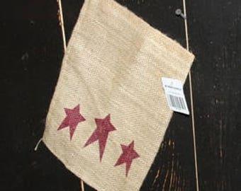 Burlap Sack~Red Star 8x12