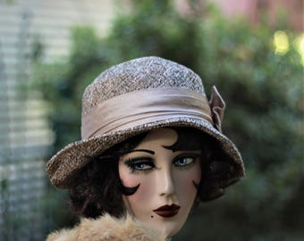 Winter Hat, Cloche Hat,Downton Abbey Hat, Tweed Fabric Hat, Chemo Hat, 20s Hat, Boho, Cloche Hat, Winter Hat, Vintage Style Hat, 1920s Hat