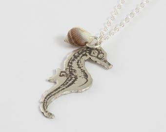 Seahorse Necklace - Silver Seahorse Jewelry - Nautical Jewelry - Seahorse Charm - Sea Creatures - Seashell Jewelry - Ocean Jewelry - Beach