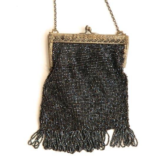 Vintage Black Beaded Bag with Fringe