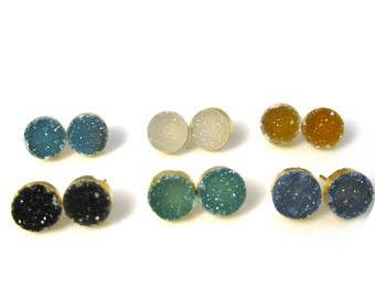Druzy Earring Studs,Gemstone Stud Earrings,Gold Druzy Studs,10mm Round Druzy Studs-(Sky Blue,Gray,Amber,Black,Green and Blue)-SKU: 694010VM