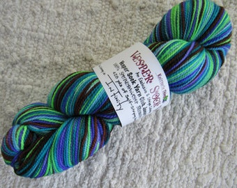 One Skein Hand Dyed Artisan Vesper Striping Yarn Exclusive Sock Club January 2016 Colorway Infinity Knitterly Things 100% Wool