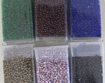 Size 15, Delica, 6 Tube, About 81 Gram, Color Mix, Hex, Metallic, Matte, Green, Navy, Loom, Cabochon Beading, Britz Beads Supply