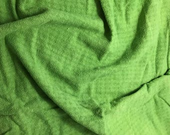 Apple Green - Hand Dyed Checkered Weave Silk Noil - 1 Yard