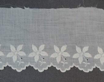 Antique Embroidered Petticoat Trim, Vintage White Cotton Victorian Edwardian 2 yards