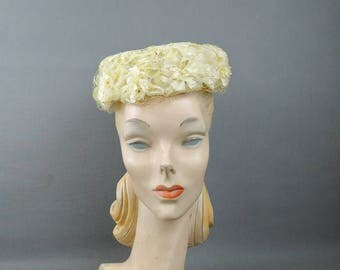 Vintage Pillbox Hat Yellow Floral 1960s, with Veil, Fits 21 inch head