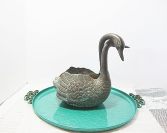 vintage swan brass bronze metal planter 2 head bird