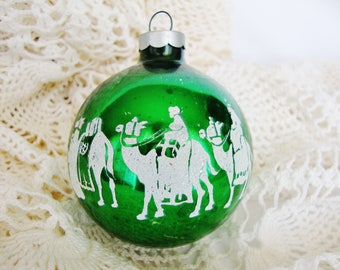 vintage christmas ornament shiny brite 3 wise men stenciled green glass ball