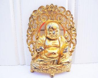 vintage buddha pin brooch gold tone metal