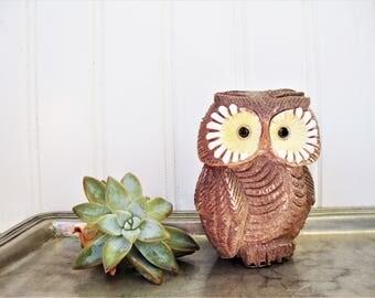 vintage owl artesania rinconada pottery uruguay figurine