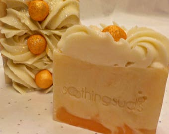 LAST ONE! Satsuma -  Hot Processed Olive Oil & Goat's Milk Artisan Soap, 6oz bar,       Soothing Suds Handmade Soap