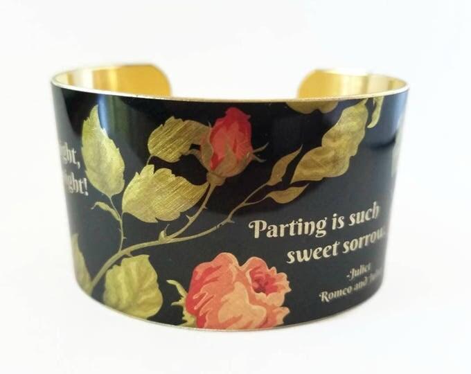 Romeo and Juliet William SHAKESPEARE brass cuff bracelet Good Night