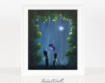 Where Time Has No End - Sister Fairy Art Print - Gift For Sisters - Dreamy Landscape - 8x10 Inches - Limited Editions by Erback - Dreamscape