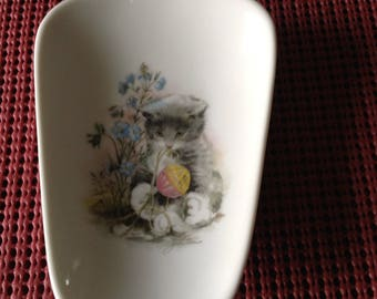 "Ceramic  Spoon Rests  with Kitten 5"" Long and And 3 1/2 inches Wide at top"