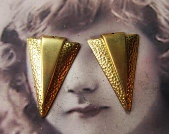 Raw Brass Hammered Deco Style jewelry drops 313RAW x2