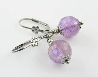 Amethyst Earrings, Beaded Earrings, Amethyst Silver Earrings, Amethyst Jewelry, Purple Earrings, February Birthstone Earrings, E2430