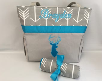 DEER ... ARROWS ... Personalized ... TURQUOISE Accent  Diaper Bag .. Changing Pad Set ... Gray