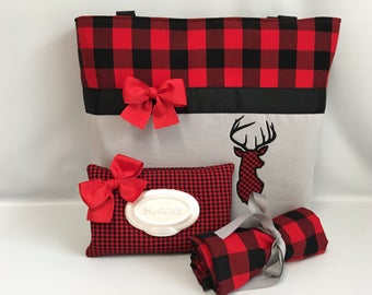 Buffalo PLAID  and DEER  ...  Girly Diaper Bag .. Changing Pad  ...  WIPE Cover Set ... Gray Red Black