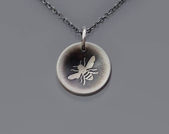 Tiny Cupped Honey Bee Necklace, oxidized sterling silver necklace, dainty necklace, insect jewelry, nature jewelry