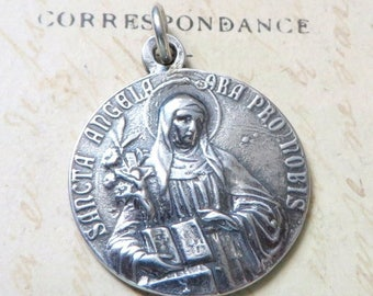 ON SALE St Angela / St Ursula Medal - Patrons of teachers, students, and disabled people - Antique Reproduction