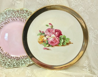 Large Royal Wonton Grimwades Gold rimmed and floral plate