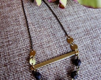 Brass Bar Necklace, Geometric Jewelry, Black and Gold beads, Black Chain, Long Beaded Necklace, Boho, Valentine's day, Layering Necklace
