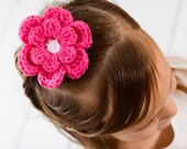 CLEARANCE Hot Pink Hair Clip Crochet Flower Hair Clip Flower Barrette Hot Pink Flower Hot Pink Barrette Electric Pink Neon Pink Summer Sale