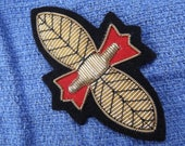 Vintage Bee or Butterfly Applique Patch with Gold Bullion (Passementerie)