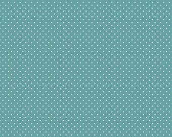 White Swiss Dot On Teal  (C670 Teal)