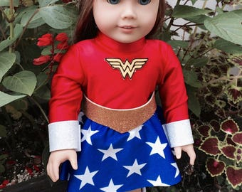 "Super Hero Type costume for 18"" doll - possibly Wonder Woman/Girl parody"