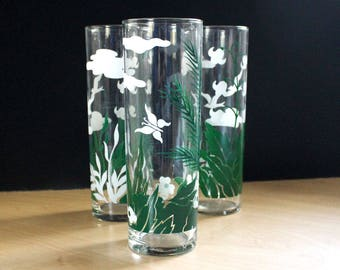 Flowers and Birds. Vintage white and green drinking glasses, set of three.