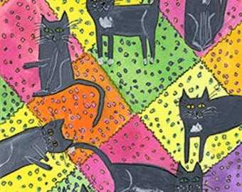 Crazy cat quilt. Original mixed media painting on paper by Vivienne Strauss.