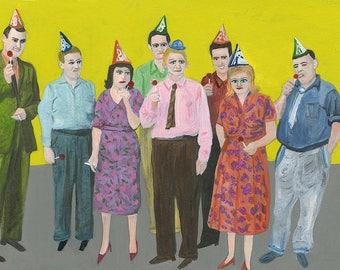 Party people.  Limited edition print by Vivienne Strauss.