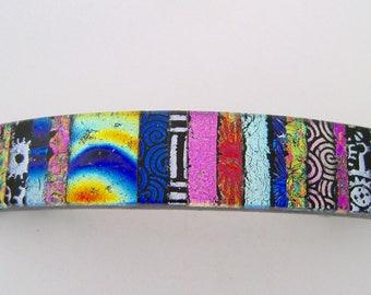 Large dichroic glass barrette. Glass hair clip. Barrette. Dichroic.