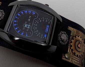 Steampunk watch. Sport watch. Cuff watch.