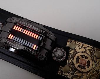 Steampunk watch. Biker watch. LED watch. Leather cuff watch. Leather wrist watch. Watch cuff.