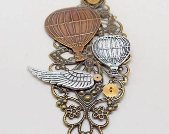 Steampunk jewelry hot air balloon necklace pendant.