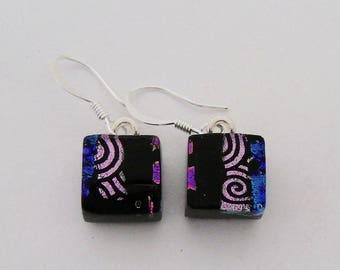 Tiny  dichroic glass  earrings.