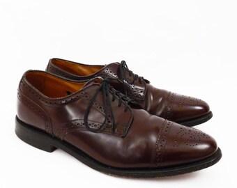 vintage leather wingtip oxfords // Allen Edmonds made in USA // cordovan wing tips // men's size 8 D