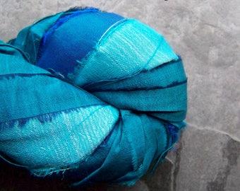 Recycled Sari Ribbon, Striped Ribbon, Silk Sari Ribbon, Reclaimed, Turquoise Ribbon, Tassel Ribbon, Vibrant Turquoise, Boho Ribbon, 4 Yards