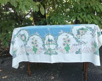 Vintage STARTEX Tablecloth 48x52 Mid Century Table Cloth Floral Tablecloth French Country Cottage Style Table Linens